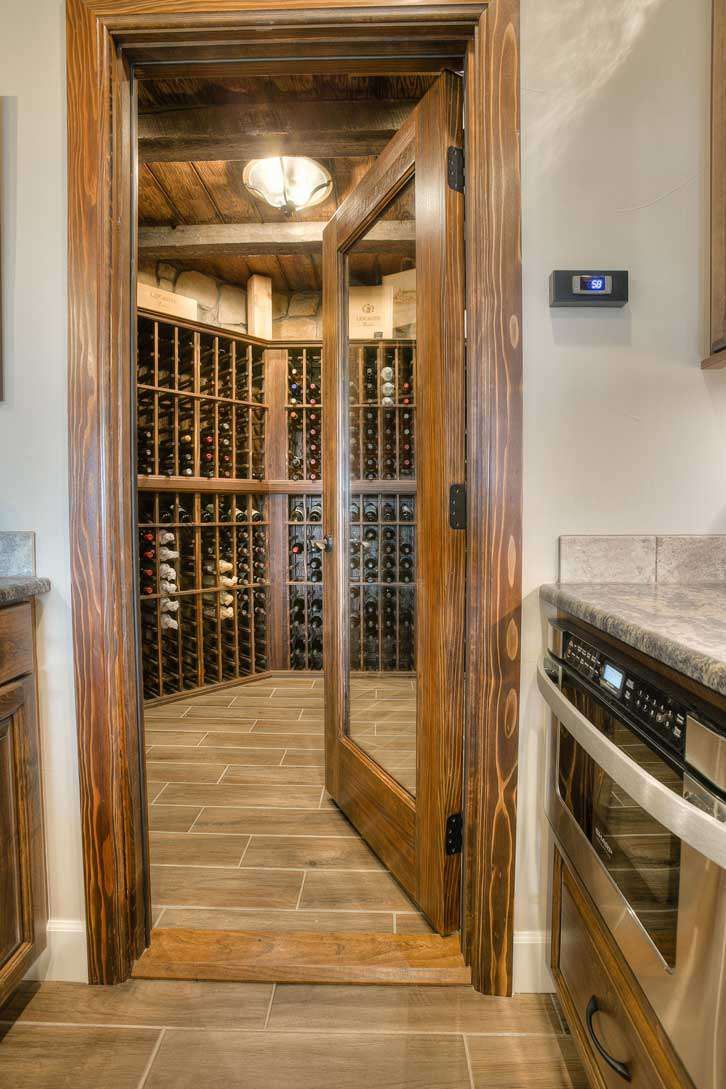 Wine Cellar with Wood Beams and Mouldings