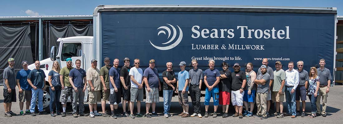sears trostel lumber and millwork - crew in from of delivery truck
